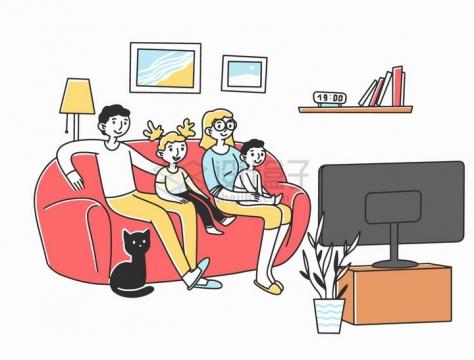 一家人坐在沙发上看电视手绘插画png图片素材