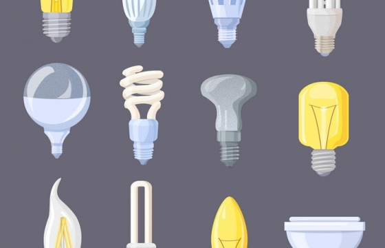 12款白炽灯LED灯等电灯泡图片免抠矢量素材