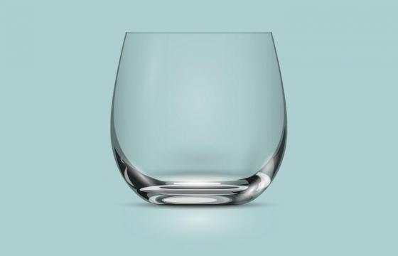 逼真的广口杯透明玻璃杯侧视图图片免抠矢量图