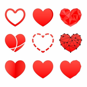 9款空心红心爱心心形图案png图片免抠矢量素材