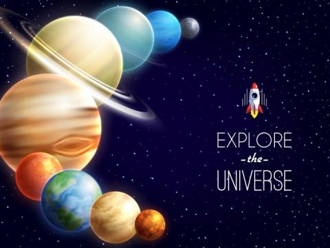 串联在一起的太阳系八大行星天文科普配图图片免抠素材