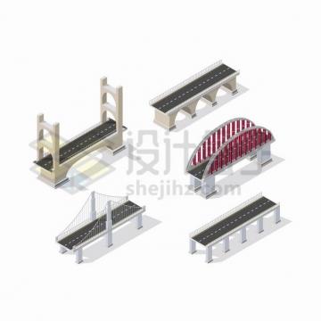 5款2.5D风格桥梁大桥png图片素材