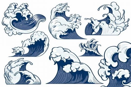 8款手绘风格蓝色海浪波浪巨浪水效果图案png图片免抠eps矢量素材
