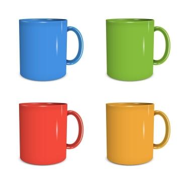 4种颜色的水杯搪瓷杯图片免抠矢量图