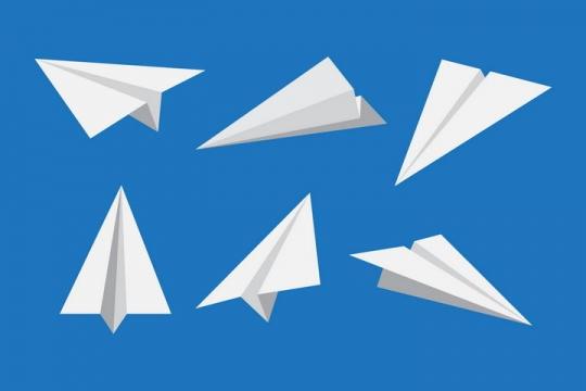 6款不同角度的白色折纸纸飞机png图片免抠矢量素材