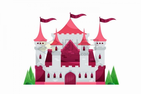 扁平插画风格美丽的童话城堡png图片免抠矢量素材