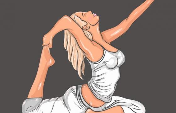 手绘正在做瑜伽的金发女人图片免抠素材