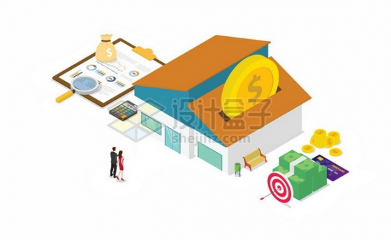 2.5D风格房子和购房合同金钱买房子696250png矢量图片素材