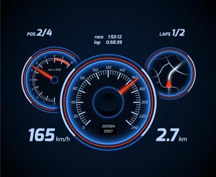 蓝色发光风格汽车仪表盘速度表显示界面png图片免抠矢量素材