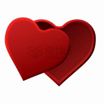 红色的心形珠宝盒礼物盒礼品盒子png图片素材