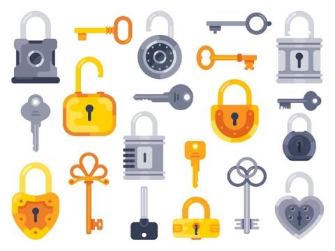 各种扁平化风格钥匙和锁图片免抠矢量图