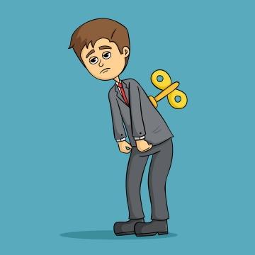 无精打采要上发条的卡通年轻人图片免抠素材