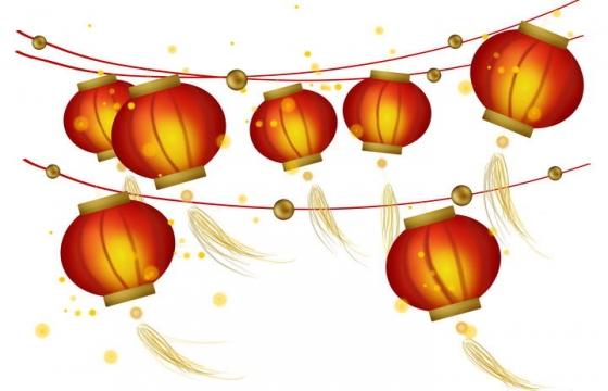 手绘风格挂在线上的大红灯笼装饰图片免抠素材