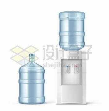 逼真的饮水机和纯净水桶家用电器png图片素材