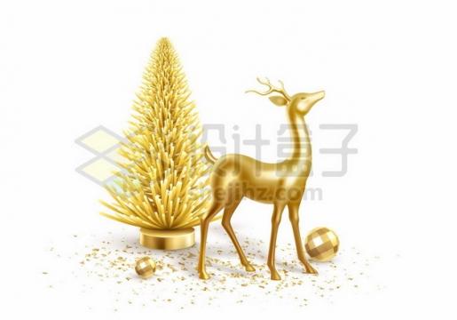 创意金色驯鹿和圣诞树圣诞球圣诞节装饰313921png图片素材