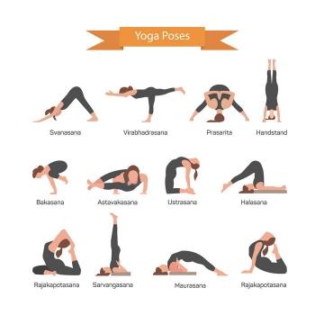 12款扁平化风格正在做瑜伽的女人图片免抠素材