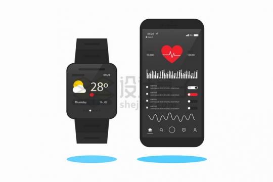 智能手表和手机上显示的健身跑步计步APP界面png图片素材