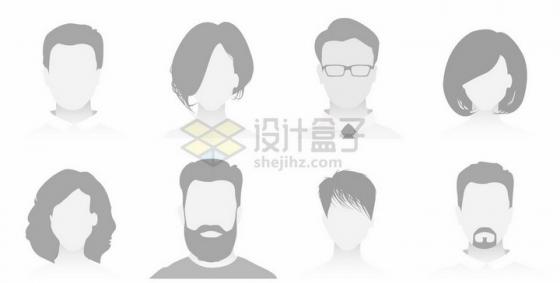 8款适合网站男性女性灰色默认头像png图片免抠矢量素材