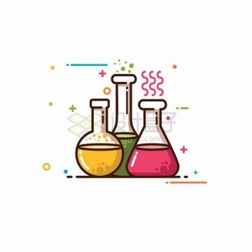 MBE风格烧瓶锥形瓶等化学实验仪器png图片免抠矢量素材