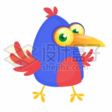 可爱的卡通蓝色红色小鸟png图片免抠矢量素材