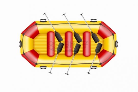 红黄相间的皮划艇橡皮艇小船俯视视角png图片素材