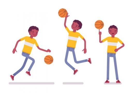 3款卡通风格打篮球的年轻人图片免抠矢量素材