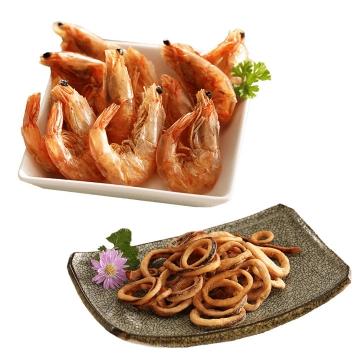 一盘煮熟的河虾对虾和鱿鱼圈河鲜海鲜美食图片免抠素材