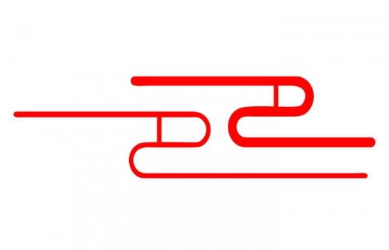 极简风格的红色线条祥云图案图片免扣素材