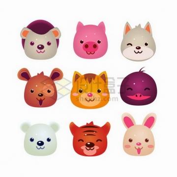 9款卡通小熊小猪小猫等动物头像png图片免抠矢量素材