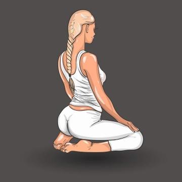 手绘跪着正在做瑜伽的金发女人图片免抠素材