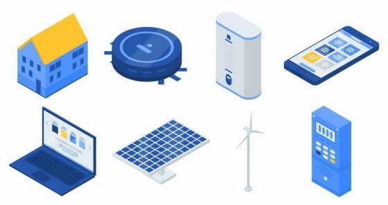 扫地机器人AI音箱笔记本电脑太阳能风力发电等智能家居png图片免抠矢量素材