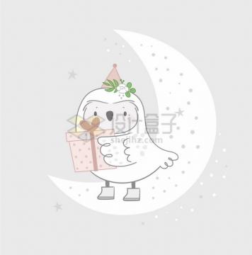 卡通猫头鹰拿着礼物站在弯弯的月亮上童话故事儿童插画png图片免抠矢量素材