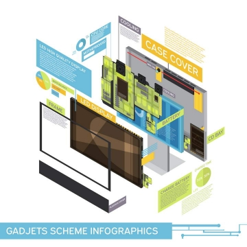 创意立体显示器结构分解分层示意图图片免抠素材