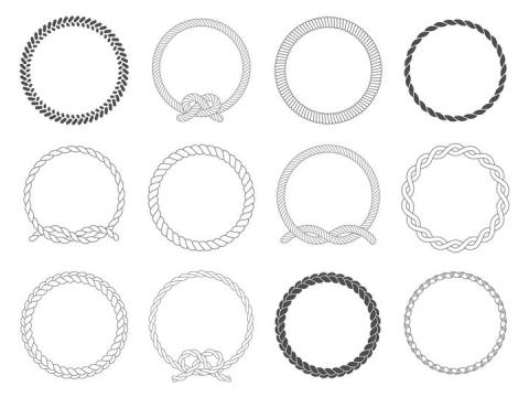 12款黑色线条麻绳圆环图片免抠矢量图