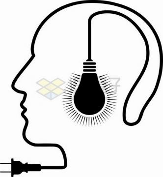 抽象黑色电灯泡和电线组成的人体头部侧影png图片素材