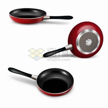 红色的平底锅煎锅厨房用具三视图png图片素材