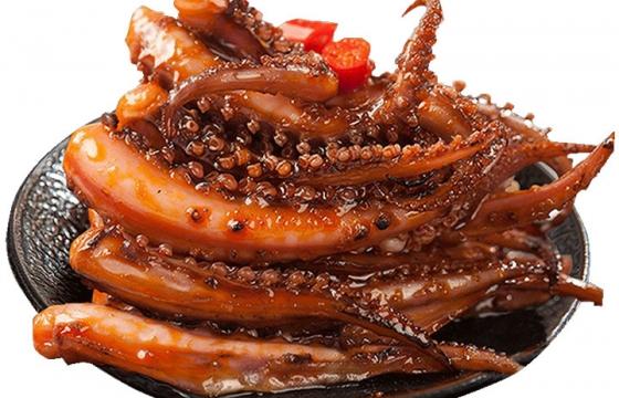一盘美味的麻辣鱿鱼须海鲜美食图片免抠素材