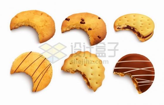 6款咬了一口的曲奇饼干美味零食png图片免抠矢量素材