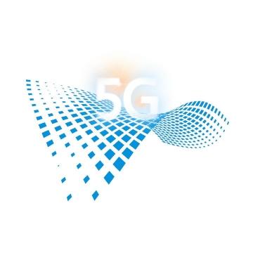 蓝色方格装饰5G通信技术图片免抠png素材