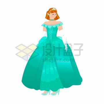 卡通童话绿色裙子的美丽公主png图片免抠矢量素材