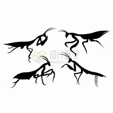 4款螳螂昆虫剪影png图片免抠矢量素材