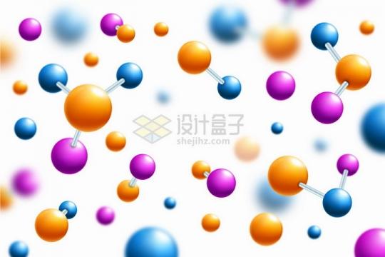 各种橙色蓝色玫红色3D圆球组成的分子结构模型背景图png图片免抠矢量素材
