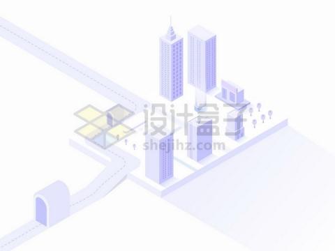 淡紫色2.5D风格城市建筑高楼大厦和街道模型png图片免抠矢量素材