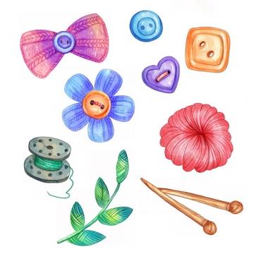 毛线球针织蝴蝶结纽扣水彩插画432597png图片素材
