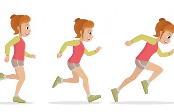 慢跑快跑等跑步动作图片免抠素材