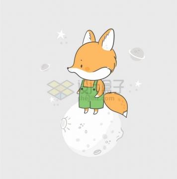 卡通小狐狸站在星球上童话故事儿童插画png图片免抠矢量素材
