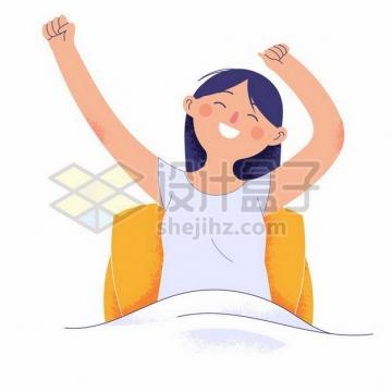 早上起床伸懒腰的卡通女孩手绘插画png图片素材