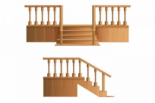 2款木制栏杆和楼梯台阶png图片免抠矢量素材