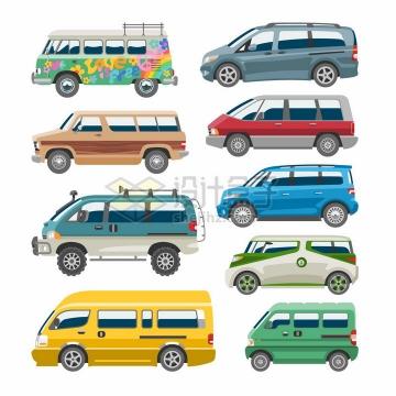 9款卡通面包车旅行车侧面图png图片免抠矢量素材