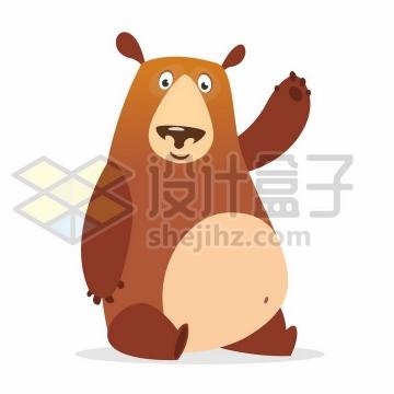 打招呼的卡通棕熊png图片免抠矢量素材